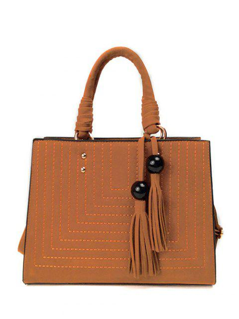hot Stitching Suede Tassel Handbag - BROWN  Mobile