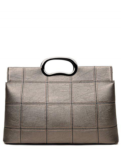 shops Grid Stitching PU Leather Handbag - SILVER GRAY  Mobile