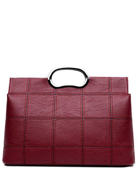 latest Grid Stitching PU Leather Handbag - WINE RED  Mobile