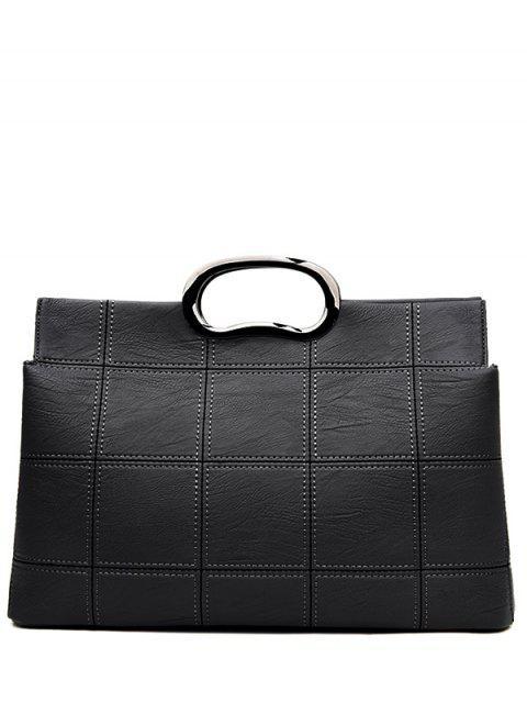 trendy Grid Stitching PU Leather Handbag - BLACK  Mobile