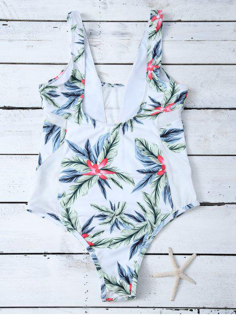 shops One-Piece Swimwear With Tropical Print - WHITE L Mobile