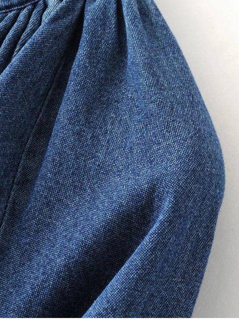 unique Embroidered Bib Swing Denim Blouse - DENIM BLUE M Mobile