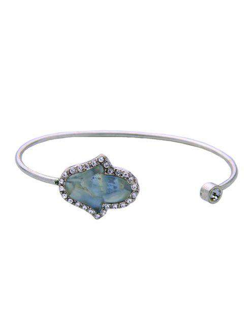 women Faux Gemstone Rhinestone Palm Cuff Bracelet - SILVER  Mobile
