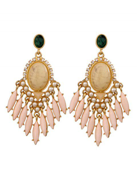 lady Artificial Gemstone Oval Drop Earrings - PINK  Mobile