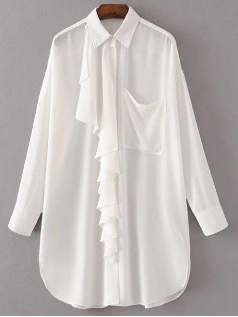 buy Oversized Chiffon Shirt With Frill - WHITE M Mobile