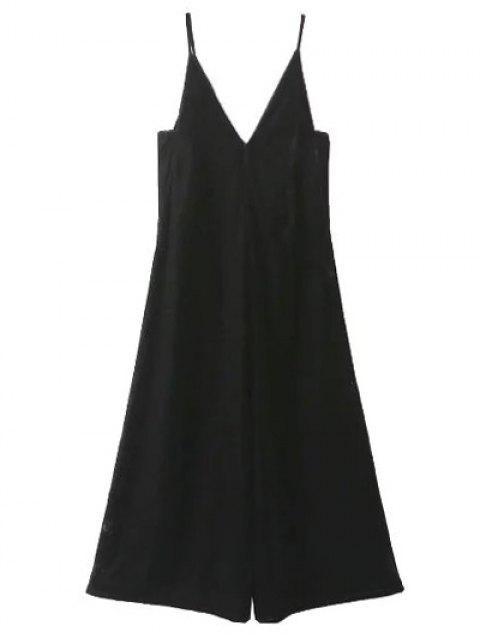 fashion Cropped Wide Leg Velvet Jumpsuit - BLACK M Mobile