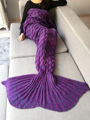 Manta Punto Crochet Tejida Diseño Sirena Decoración Hogar - Púrpura