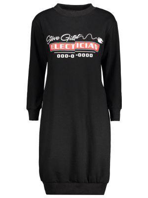 Casual Long Sleeve Letter Midi Dress - Black Xl