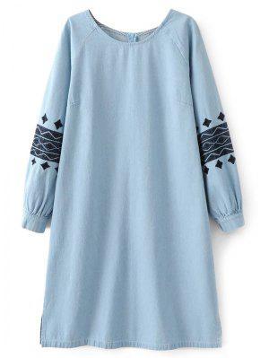 Robe tunique en denim avec broderie