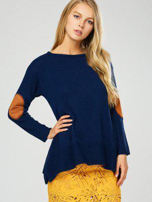 Elbow Patch Asymmetric Pullover Sweater - Purplish Blue 2xl