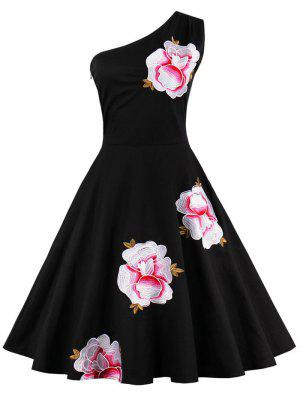 One Shoulder Embroidered Cute Swing Skater Dress - Black S