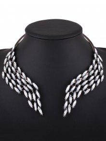 Collar Diseño Alas Imitación Diamantes - Plata