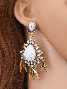 Buy Water Drop Fake Gem Tassel Earrings - WHITE