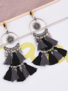 Buy Sunflower Tassel Round Drop Earrings - BLACK