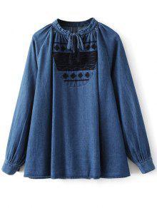 Embroidered Bib Swing Denim Blouse - Denim Blue L