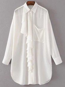De Gran Tamaño Camisa De Gasa Con Volantes - Blanco M
