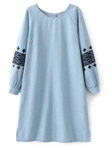 الفستان الطويل بدميم التطريز - الضوء الأزرق M