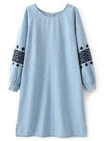 Denim Embroidered Tunic Dress - Light Blue S