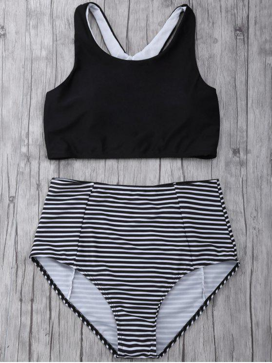hot Striped High Waisted Bikini Set - BLACK S