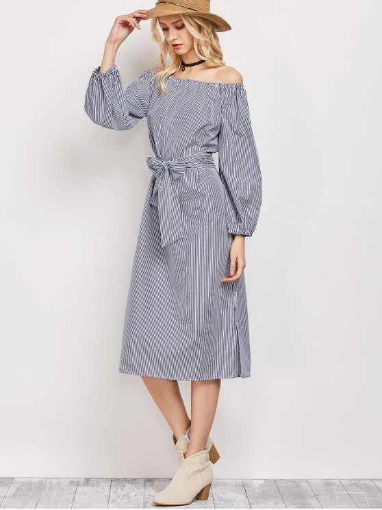 fancy Blouson Sleeve Off The Shoulder Dress - BLUE AND WHITE XL