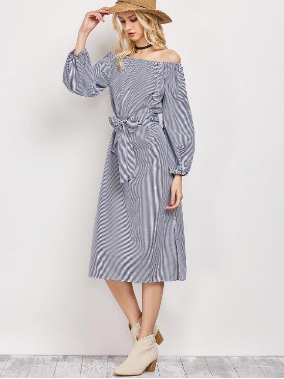 Blouson manicotto fuori dal vestito spalla - Blu e Bianco L