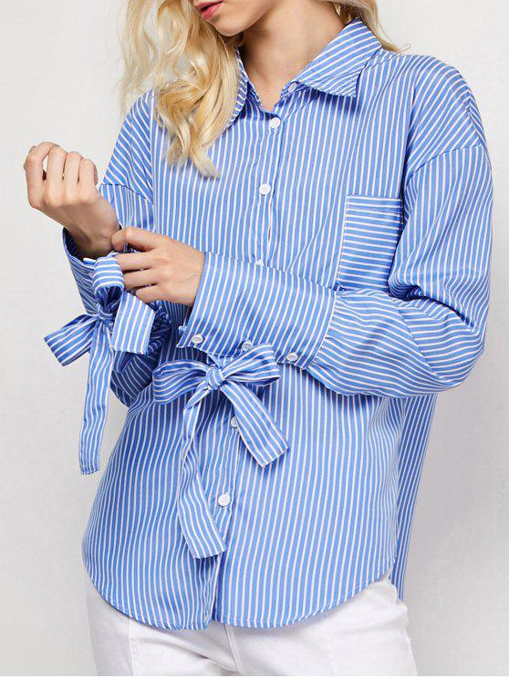 outfit Striped O Ring Back Sleeve Tie Shirt - BLUE AND WHITE M