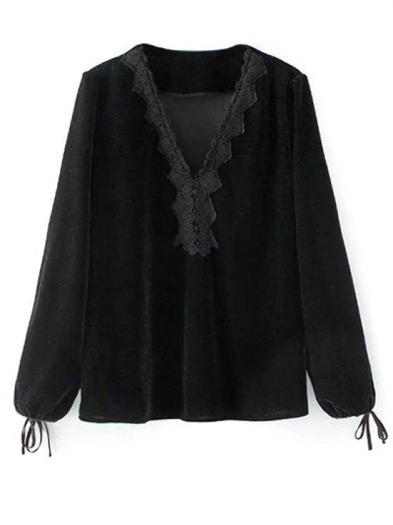 women's Long Lantern Sleeve Velvet Blouse - BLACK M