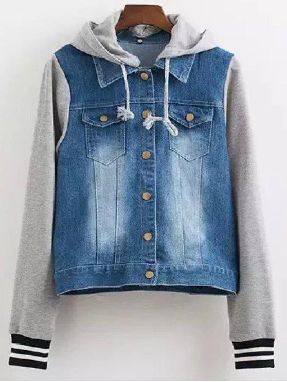 online Hooded Buttoned Denim Jacket - BLUE S
