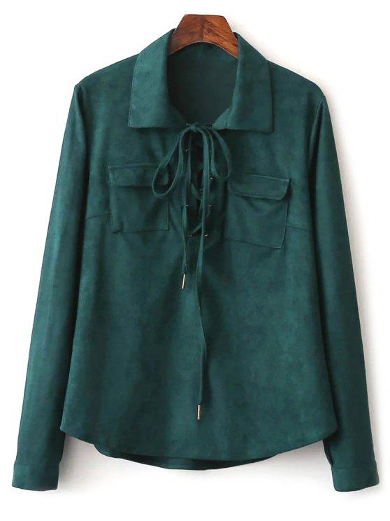 online Faux Suede Lacing Pussy Bow Blouse - DEEP GREEN S