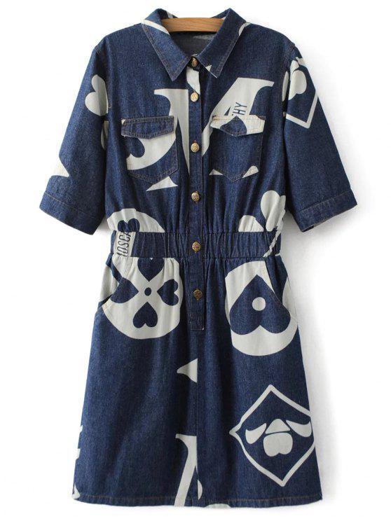 fashion Denim Printed Shirt Dress - BLUE S