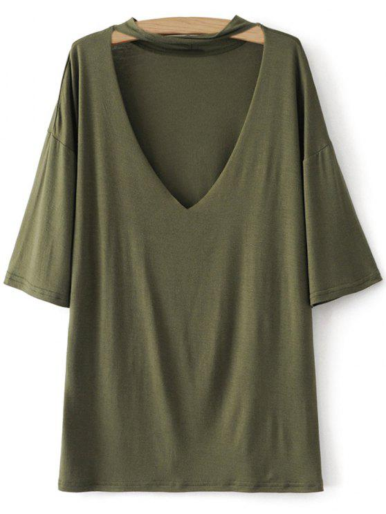 sale Drop Shoulder Choker Tee - GREEN S
