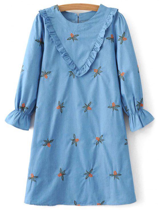 womens Frilled Chevron Pattern Tunic Dress - BLUE M