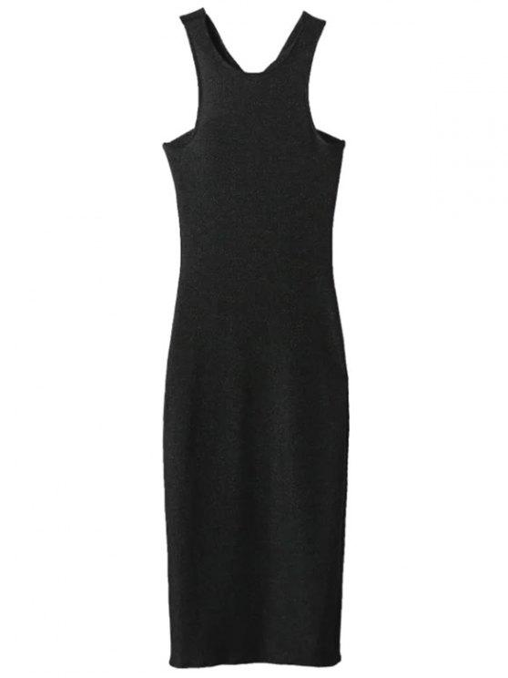 latest Glitter Midi Pencil Dress - BLACK M