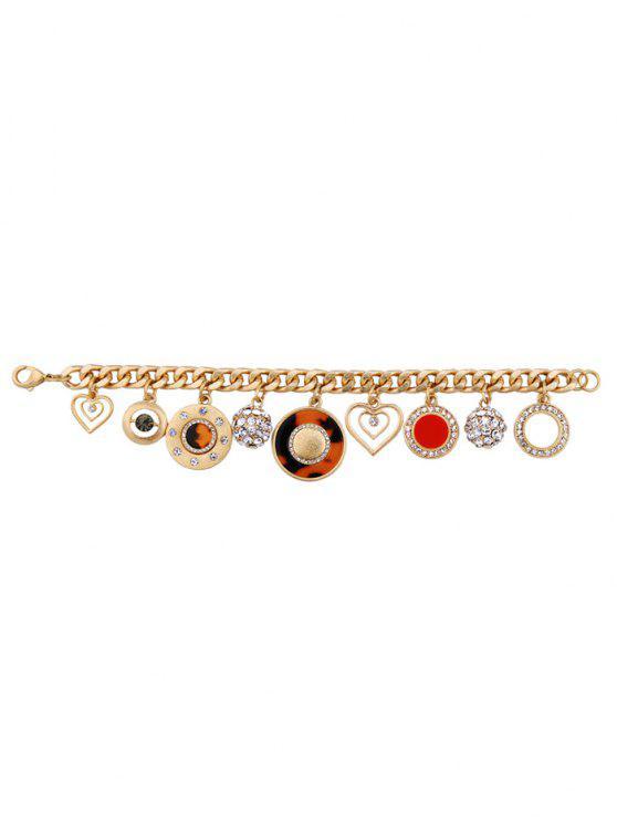 Pulsera Imitación Diamantes Diseño Circular Amuleto Corazón - Dorado