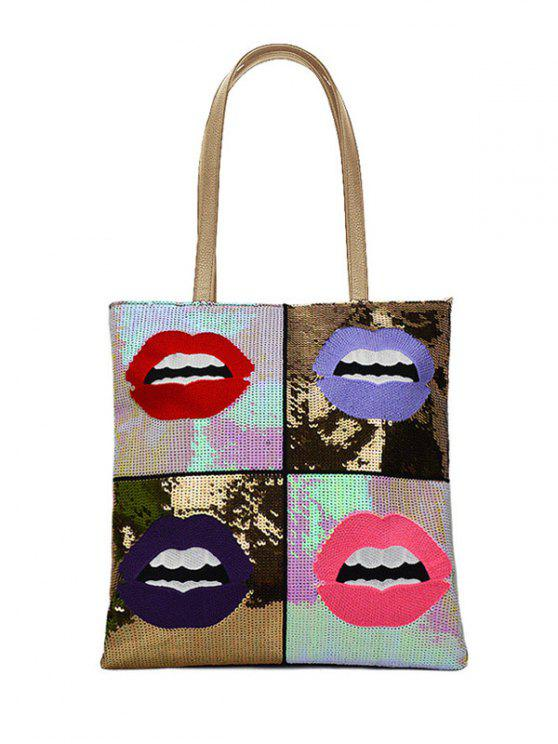 Color Block Pailletten Lippen Muster Schultertasche - Golden
