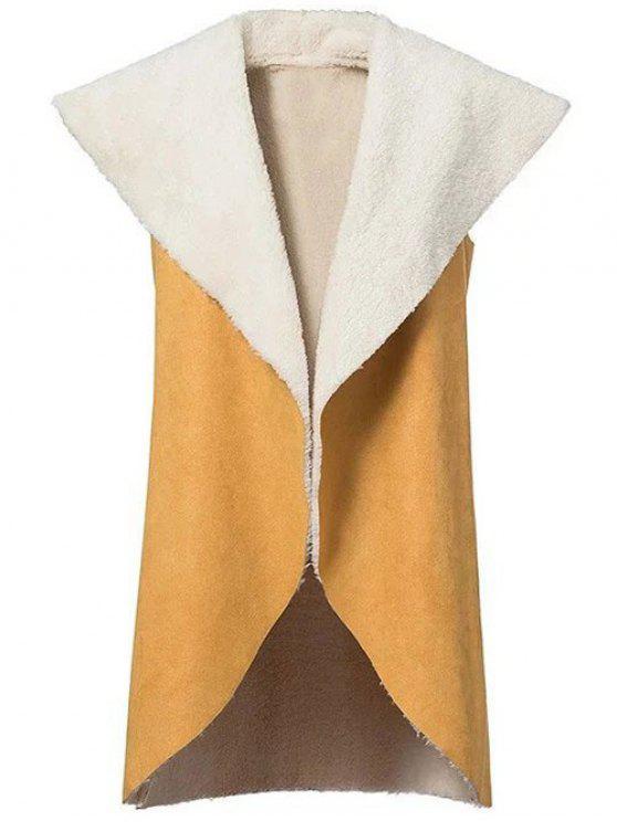 shop Faux Shearling Shawl Collar Waistcoat - YELLOW L