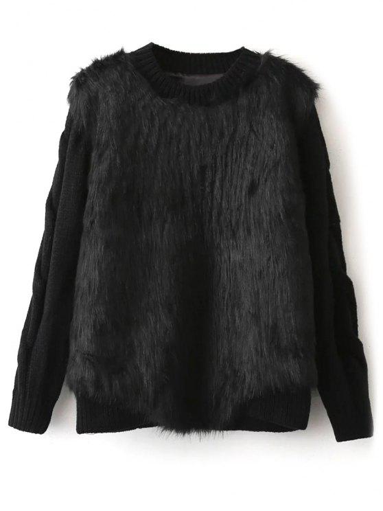 aca77fcf0 31% OFF  2019 Faux Fur Cable Knit Sweater In BLACK