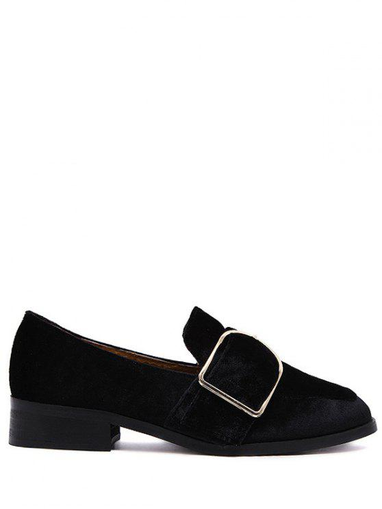outfit Belt Buckle Square Toe Velvet Flat Shoes - BLACK 37