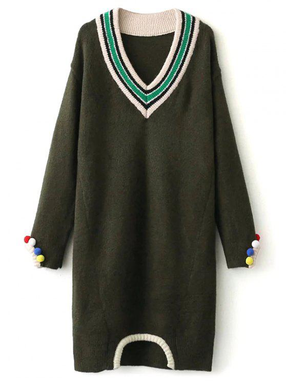 ladies Fuzzy Cricket Sweater Dress - ARMY GREEN ONE SIZE