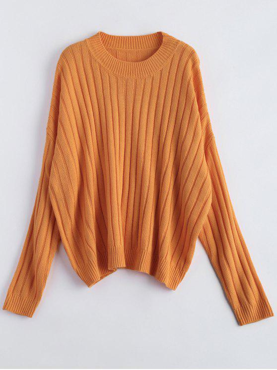 chic Rib Oversized Dolman Jumper - ORANGE ONE SIZE