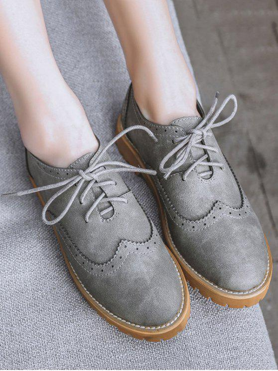 shop Wingtip Round Toe Tie Up Flat Shoes - GRAY 39