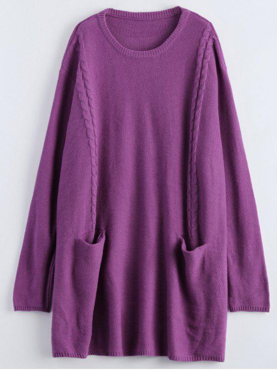 chic Oversized Cable Jumper Dress - PURPLE ONE SIZE