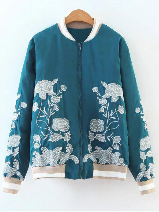 hot Zipper Floral Embroidered Bomber Jacket - LAKE BLUE M