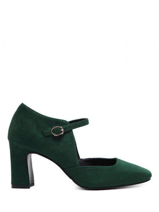 ladies Flock Block Heel Square Toe Pumps - BLACKISH GREEN 38