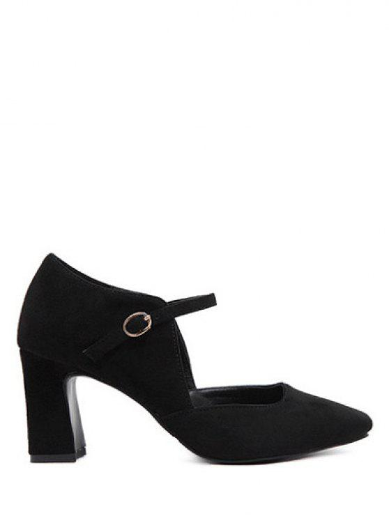 online Flock Block Heel Square Toe Pumps - BLACK 38