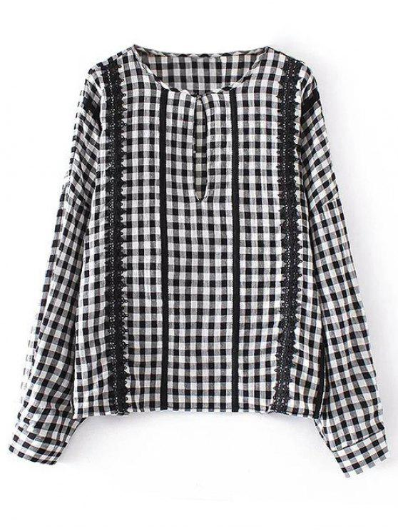 buy Checked Lacework Blouse - PLAID S