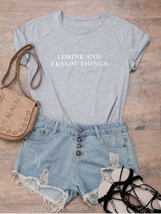 Blusa Boyfriend Gola Redonda E Texto 'I Drink And I Know Things' - Cinza 2XL