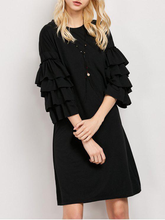 Con volantes vestido de la túnica de la manga - Negro L