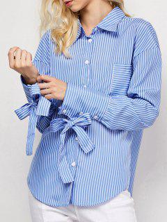 Striped O Ring Back Sleeve Tie Shirt - Blue And White L