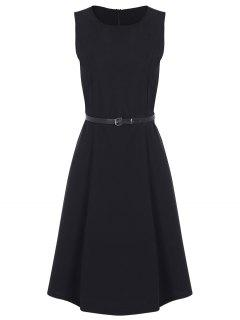 Jewel Neck Vintage Dress With Belt - Black L